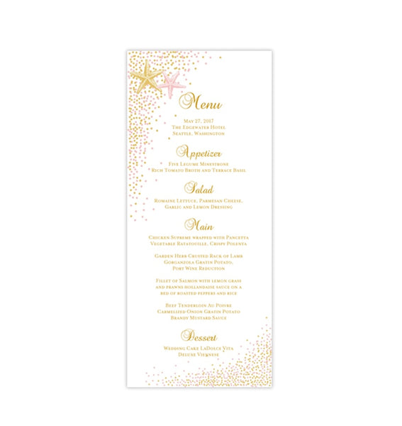 Wedding Menu Card Confetti Starfish Blush Pink Gold Tea Length Printable DIY Template