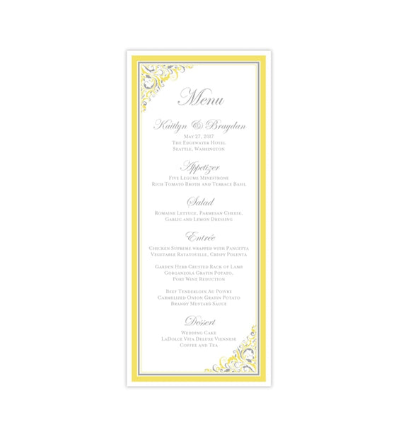 Wedding Menu Card Brooklyn Yellow Gray Tea Length Printable DIY Templates