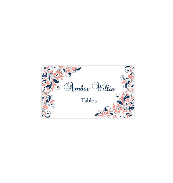 Wedding Seating Card Kaitlyn Coral Navy Blue Tent Printable DIY Place