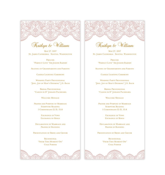 Slim Wedding Program Vintage Lace Blush Pink Gold Printable DIY