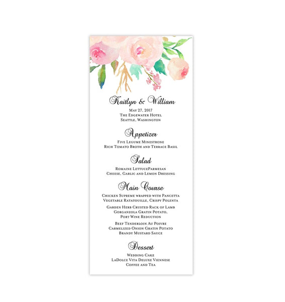 Wedding Menu Card Watercolor Floral 3 Tea Length Printable DIY Template