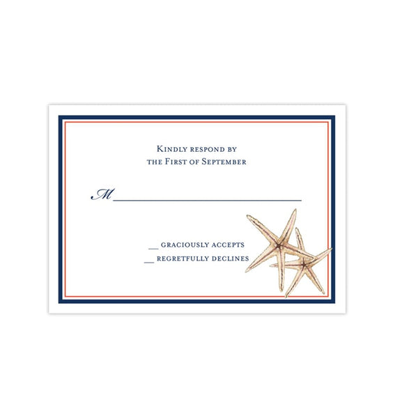 Wedding Response Cards Beach Starfish Navy Blue Coral Printable DIY Templates