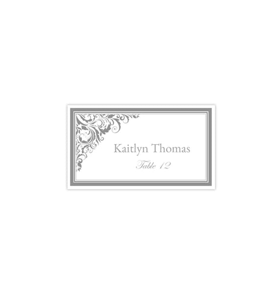 Wedding Seating Card Brooklyn Gray Tent Printable DIY Place Template