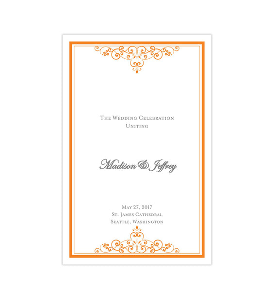 Wedding Program Template Vintage Orange Printable DIY