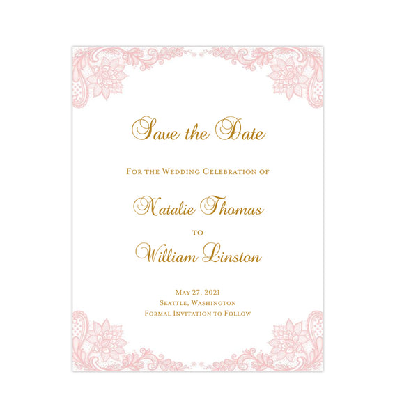 Wedding Save the Date Cards Vintage Lace Blush Pink Printable DIY Templates