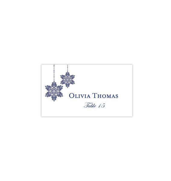 Wedding Seating Card Winter Snowflakes Navy Blue Tent Printable DIY Place