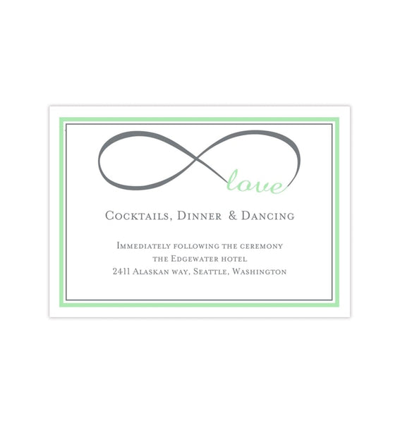 Wedding Reception Invitations Infinity Love Mint Green Gray Printable Templates