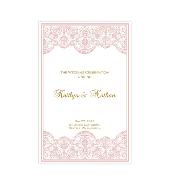 Wedding Program Template Vintage Lace Blush Pink Gold Printable DIY