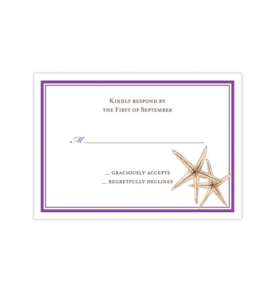 Wedding Response Cards Beach Starfish Purple Printable DIY Templates
