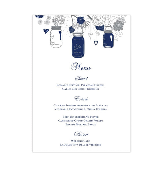 Wedding Reception Menu Template Rustic Mason Jars Navy Blue Gray 5x7 Printable DIY