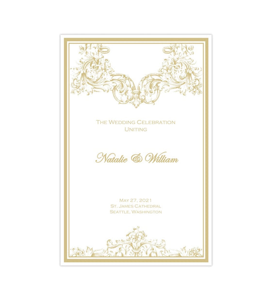 Catholic Church Wedding Program Vienna Champagne Printable DIY