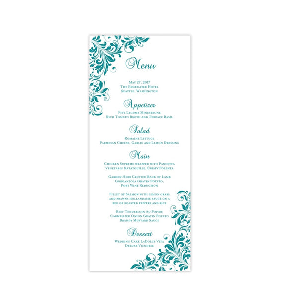Wedding Menu Card Kaitlyn Teal Tea Length Printable DIY Templates