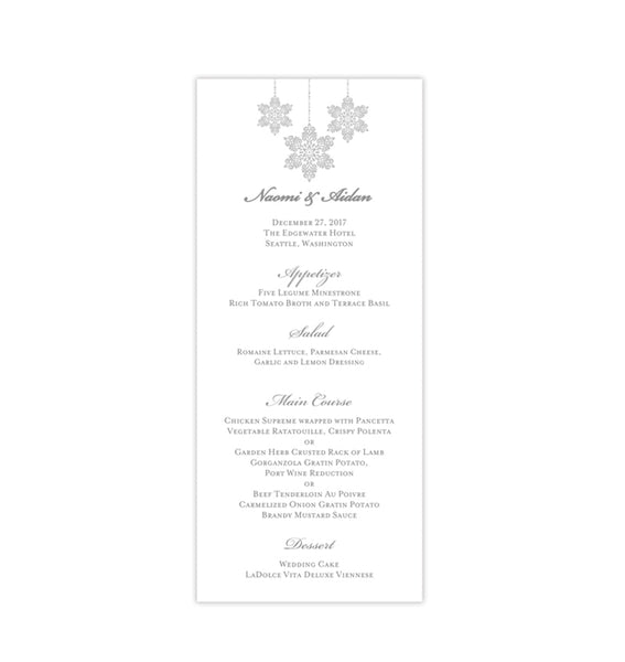 Wedding Menu Card Winter Snowflakes Silver Gray Tea Length Printable DIY Templates