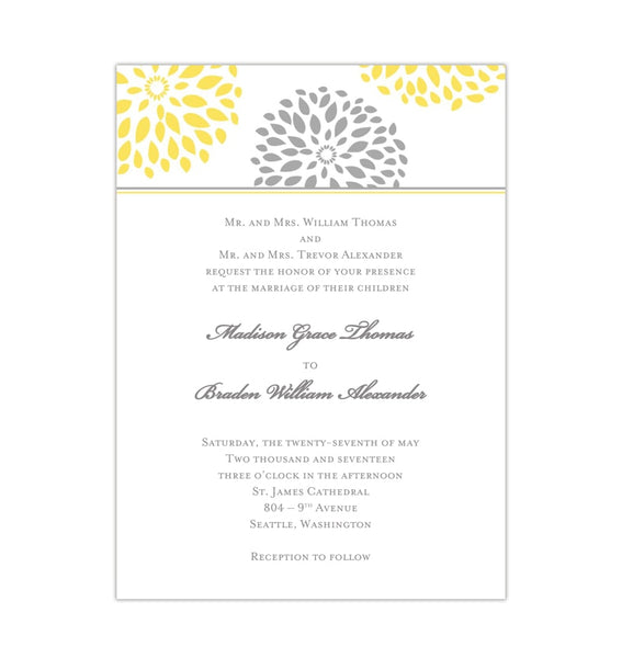 Floral Petals Wedding Invitation Yellow Gray Printable Templates