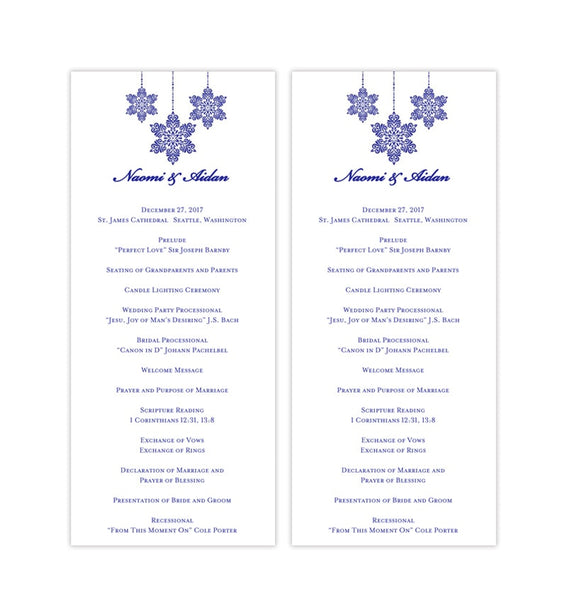 Slim Wedding Program Snowflake Royal Blue Printable DIY Templates