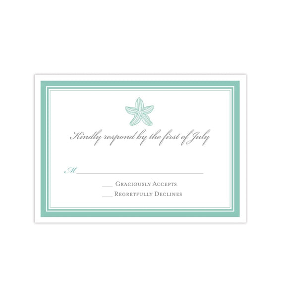Wedding Response Cards Beach Starfish Seafoam Spa Green Printable DIY Templates
