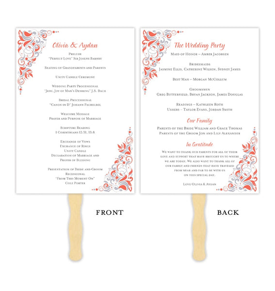 Wedding Programs Fan Gianna Coral Silver Printable DIY Templates