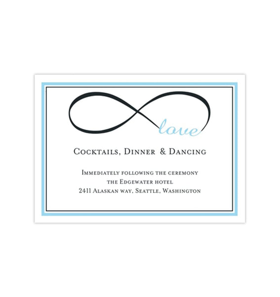 Wedding Reception Invitations Infinity Love Sky Blue Charcoal Gray Printable Templates