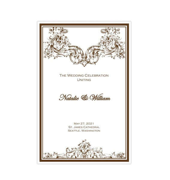 Catholic Church Wedding Program Vienna Chocolate Brown Printable DIY