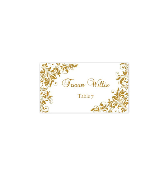 Wedding Seating Card Kaitlyn Gold Tent Printable DIY Place
