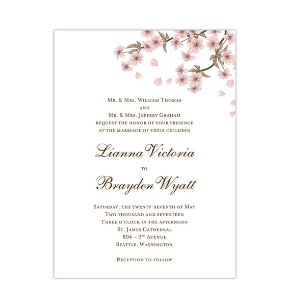 Cherry Blossom Wedding Invitation Printable Template