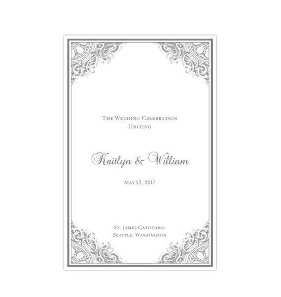 Wedding Program Template Vintage Silver Gray Printable DIY