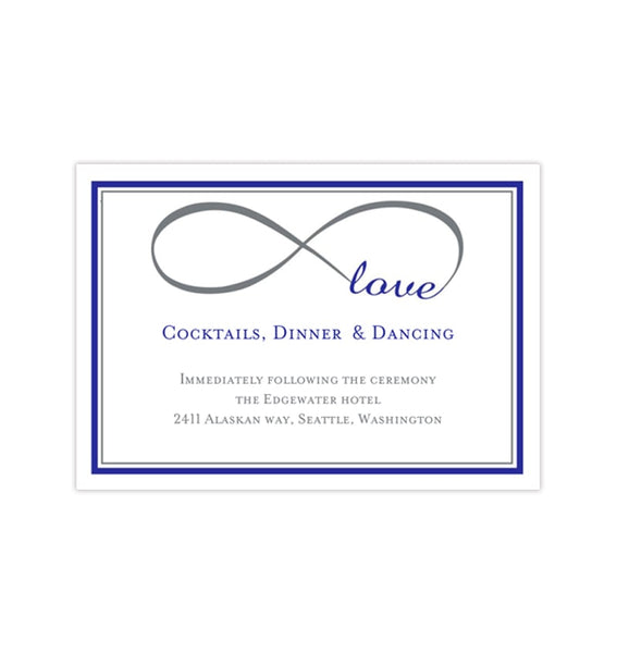 Wedding Reception Invitations Infinity Love Royal Blue Gray Printable Templates