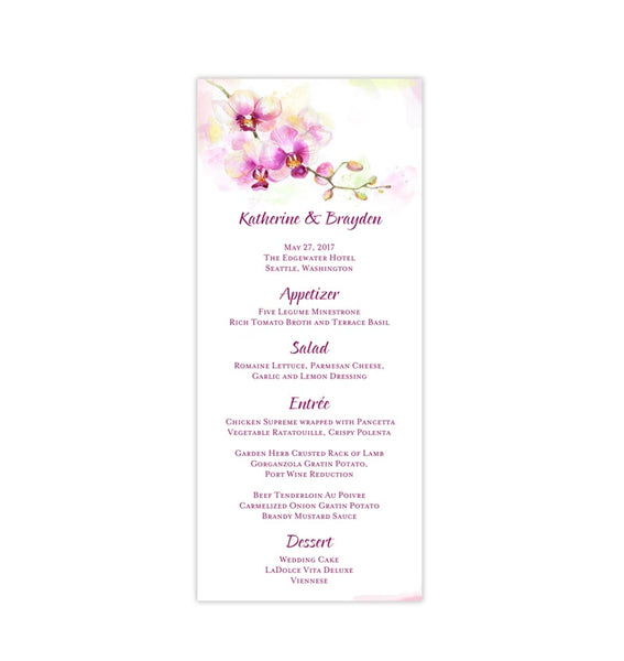Wedding Menu Card Orchid Tea Length