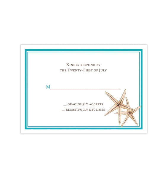 Wedding Response Cards Beach Starfish Turquoise Printable DIY Templates