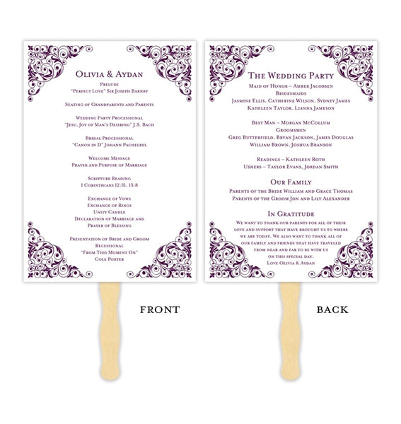 Wedding Programs Fan Isabella Plum Purple Printable DIY Templates