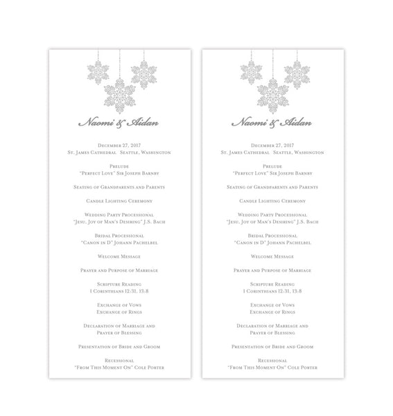 Slim Wedding Program Winter Snowflakes Silver Gray Printable DIY Templates
