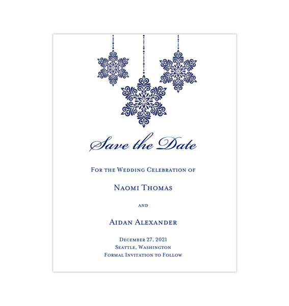 Wedding Save the Date Cards Winter Snowflakes Navy Blue Printable DIY Templates