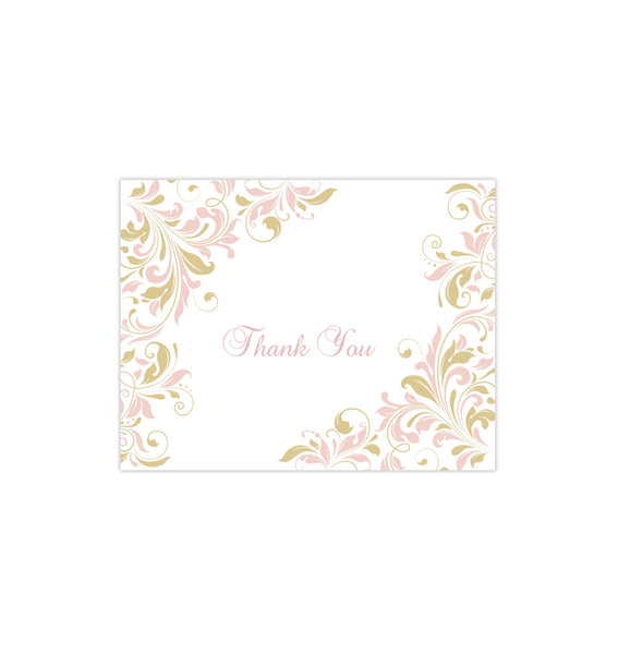 Wedding Thank You Card Kaitlyn Blush Pink Champagne Printable DIY Template