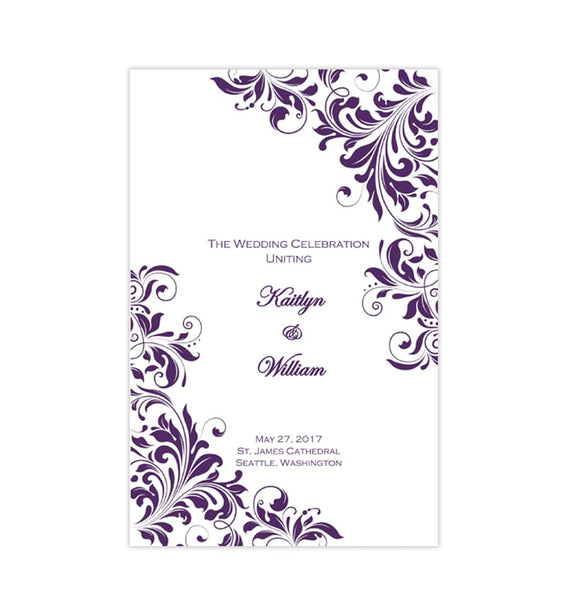 Catholic Church Wedding Program Kaitlyn Purple Printable DIY