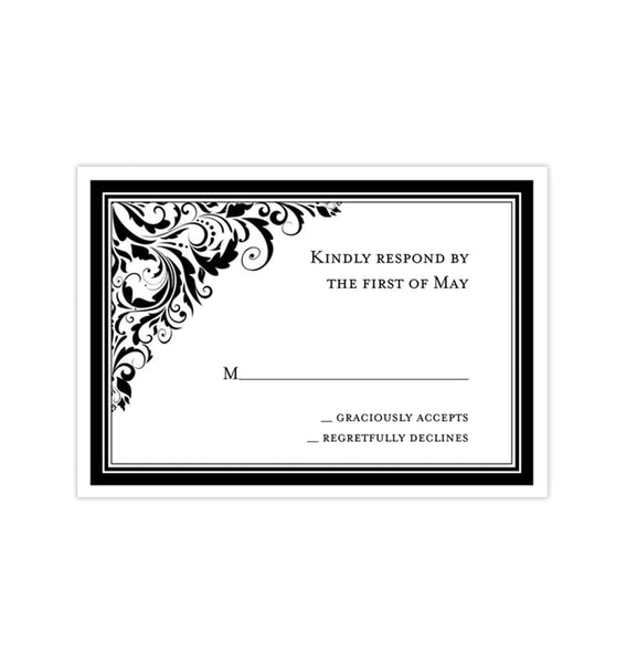 Wedding Response Cards Brooklyn Black White Printable DIY Templates