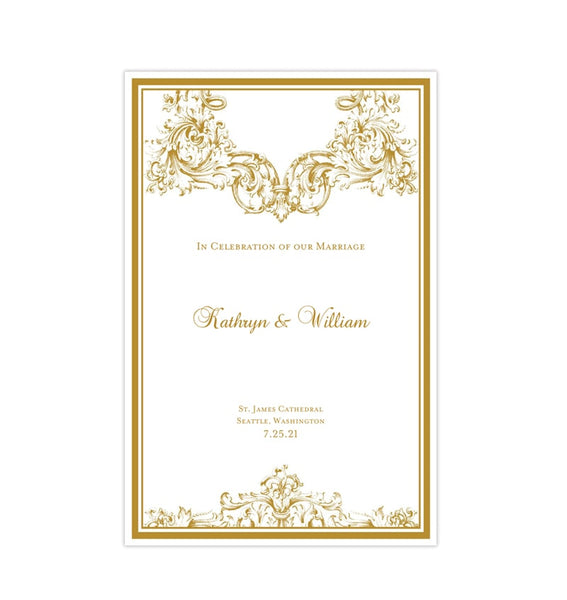 Wedding Program Template Vienna Gold Printable DIY
