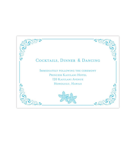 Wedding Reception Invitations Love on the Beach Malibu Blue Starfish Printable Templates
