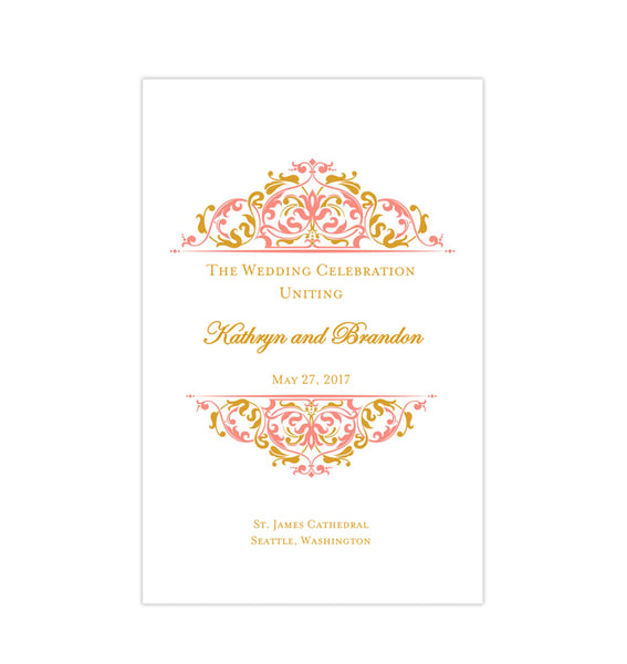 Wedding Program Template Grace Coral Gold Printable DIY