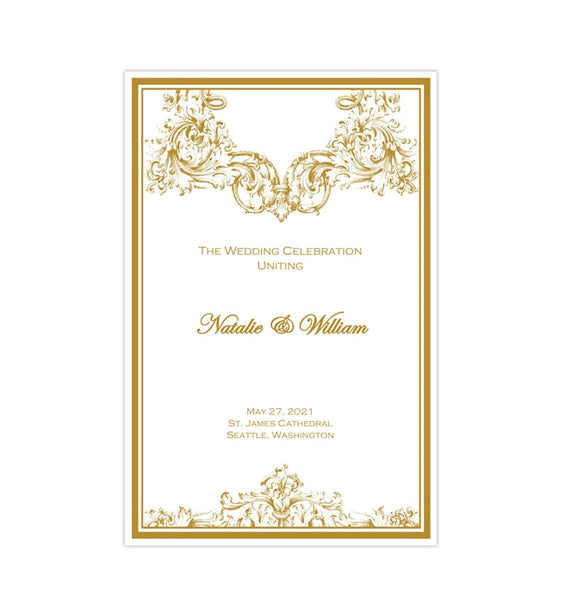 Catholic Church Wedding Program Vienna Gold 2 Printable DIY