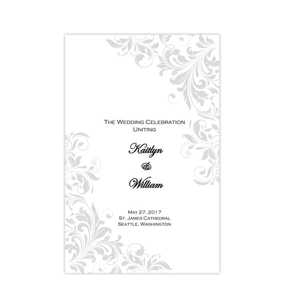 Catholic Church Wedding Program Kaitlyn Silver Printable DIY