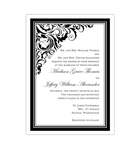 Brooklyn Wedding Invitation Black White DIY Template
