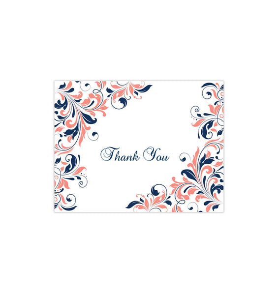 Wedding Thank You Card Kaitlyn Coral Navy Blue Printable DIY Templates