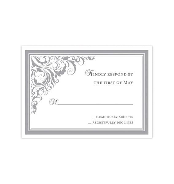 Wedding Response Cards Brooklyn Silver Gray Printable DIY Templates