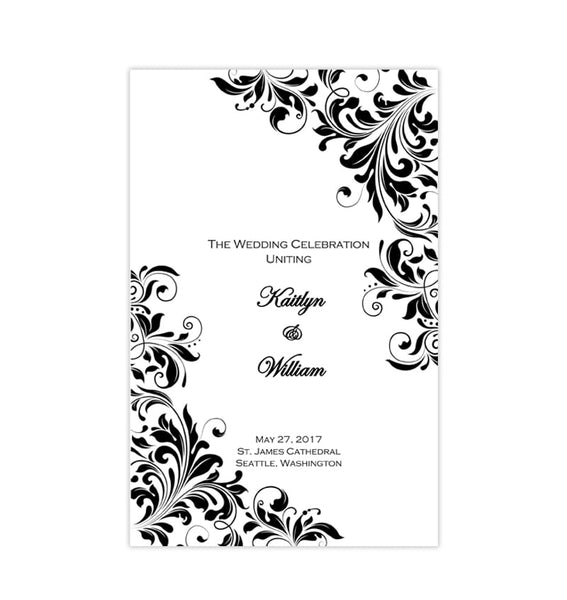 Catholic Church Wedding Program Kaitlyn Black White Printable DIY