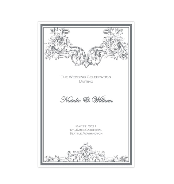 Catholic Church Wedding Program Vienna Gray 2 Printable DIY