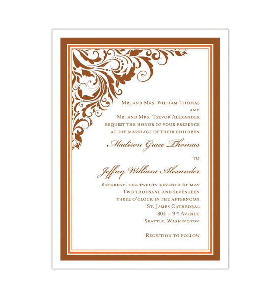 Brooklyn Wedding Invitation Bronze Orange Printable Template