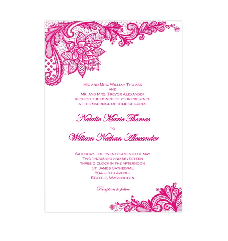 Printable Wedding Invitations Designs With Red And Silver: Vintage Lace Wedding Invitation Hot Fuchsia Pink