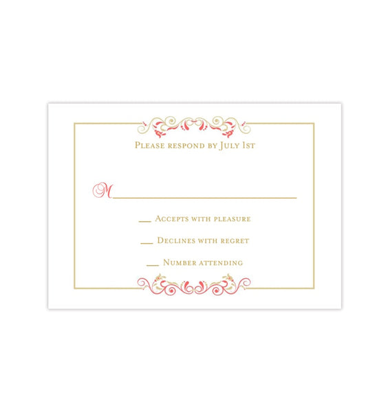 Wedding Response Cards Madelyn Coral Champagne Printable DIY Templates