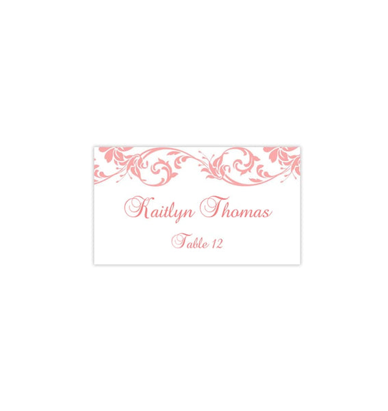 Wedding Seating Card Damask Coral Reef Tent Printabale DIY Place Template