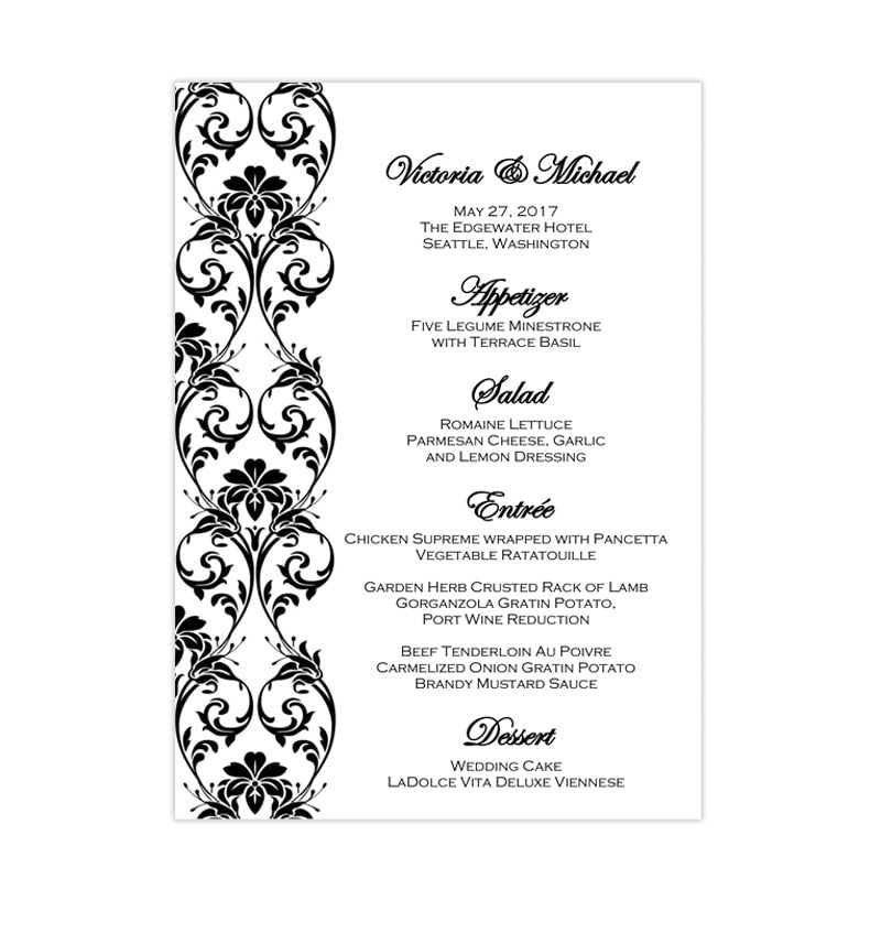 wedding reception menu template tropical damask black 5x7. Black Bedroom Furniture Sets. Home Design Ideas